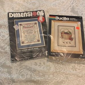 2 counted-cross stitch kits- wedding & garden